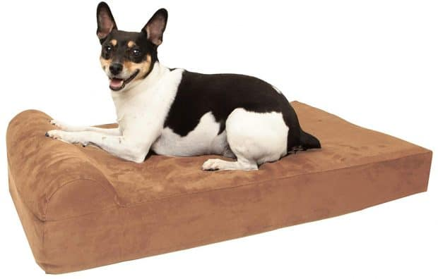 "Barker Junior - 4"" Pillow Top Orthopedic Dog Bed with Headrest for Small Dogs 20 - 30 Pounds"