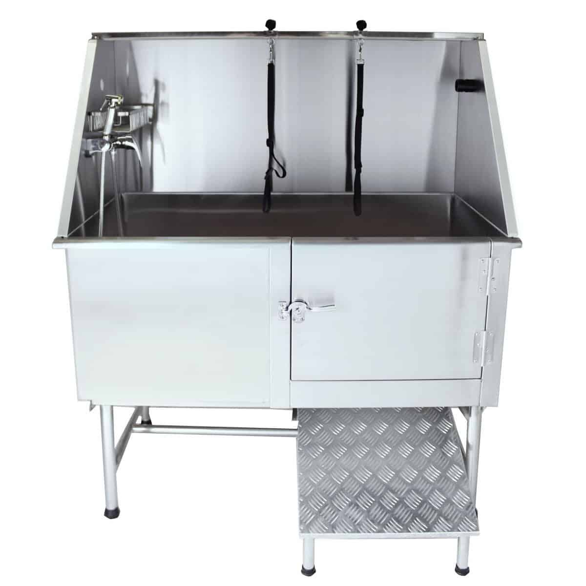 "Flying Pig Grooming 50"" Professional Stainless Steel Pet Dog Grooming Bath Tub with Faucet Walk-in Ramp & Accessories"