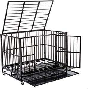 WALCUT Heavy Duty Dog Cage Rolling Metal Pet Crate